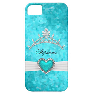 princesa Silver Tiara Teal Bejeweled del iPhone 5 Funda Para iPhone SE/5/5s