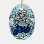 Princesa Snow Owl Art del hielo del navidad de Adorno Navideño Ovalado De Cerámica