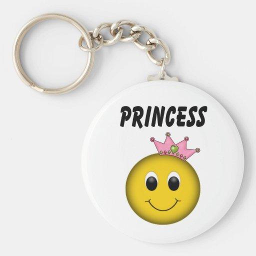 Princesa sonriente de la cara con la corona llavero personalizado