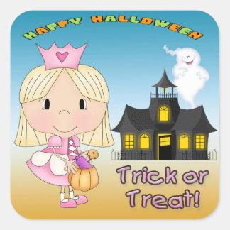 Princesa Square Stickers de Halloween Pegatina Cuadrada