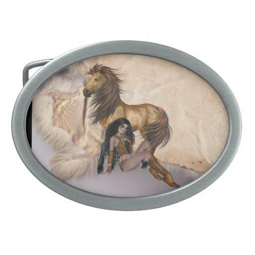 Princesa Stallion Design Belt Buck del nativo amer Hebilla De Cinturón Oval