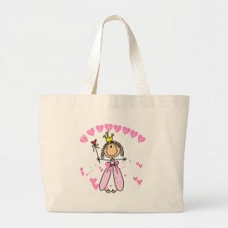 Princesa Stick Figure Tshirts y regalos del corazó Bolsa Tela Grande