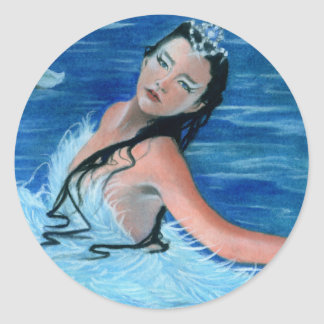 Princesa Sticker del lago swan Pegatina Redonda