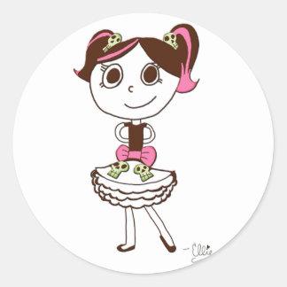 Princesa Stickers del cráneo Pegatina Redonda