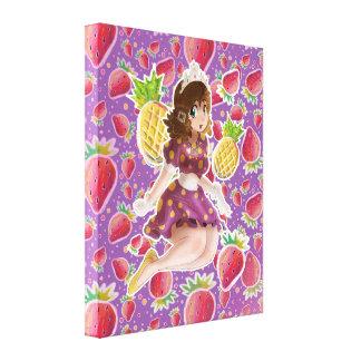 Princesa Strawberry Pattern de la piña de la fruta Lienzo Envuelto Para Galerías