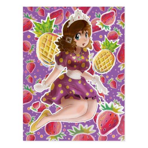 Princesa Strawberry Pattern de la piña de la fruta Postales
