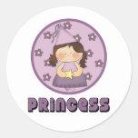 Princesa tan muy dulce Purple Pegatina Redonda