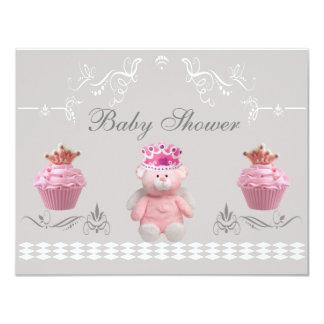 """Princesa Teddy y fiesta de bienvenida al bebé Invitación 4.25"""" X 5.5"""""""