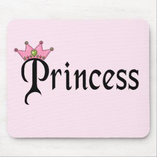 Princesa Text con la corona Alfombrillas De Ratón
