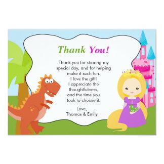 """Princesa Thank You Card del dinosaurio Invitación 5"""" X 7"""""""