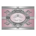 Princesa Thank You Card del rosa de la plata de la Felicitación