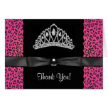 Princesa Thank You Cards del leopardo de las rosas Felicitacion
