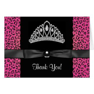 Princesa Thank You Cards del leopardo de las rosas Tarjeta Pequeña