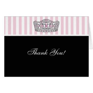 Princesa Thank You Cards del negro del rosa de la  Tarjeta Pequeña