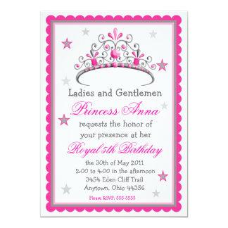 """Princesa Tiara Birthday Invitation Invitación 5"""" X 7"""""""