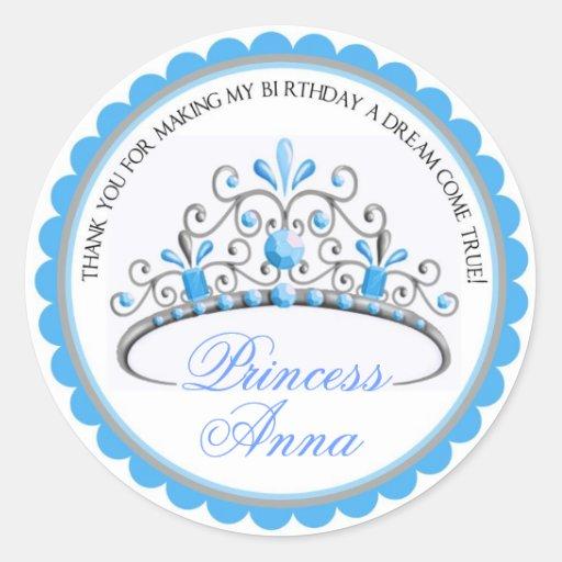 Princesa Tiara Birthday Stickers Pegatina Redonda