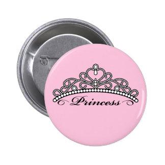 Princesa Tiara Button (fondo rosado) Pins
