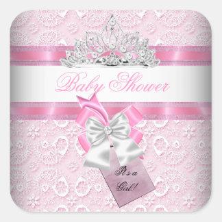 Princesa Tiara del rosa del chica de la fiesta de Pegatina Cuadrada