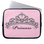 Princesa Tiara Laptop Sleeve (fondo rosado) Funda Ordendadores