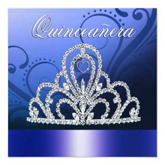 Princesa Tiara Quinceanera (azules añiles) Invitación Personalizada