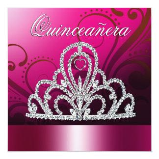 Princesa Tiara Quinceanera (fuschia) Invitación 13,3 Cm X 13,3cm