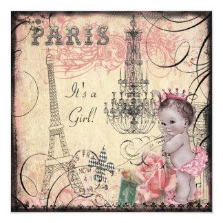 """Princesa torre Eiffel y fiesta de bienvenida al Invitación 5.25"""" X 5.25"""""""
