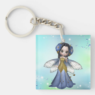 Princesa triguena Butterfly Keychain Llavero Cuadrado Acrílico A Una Cara
