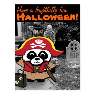 Princesa truco o invitación del pirata de la panda tarjeta postal