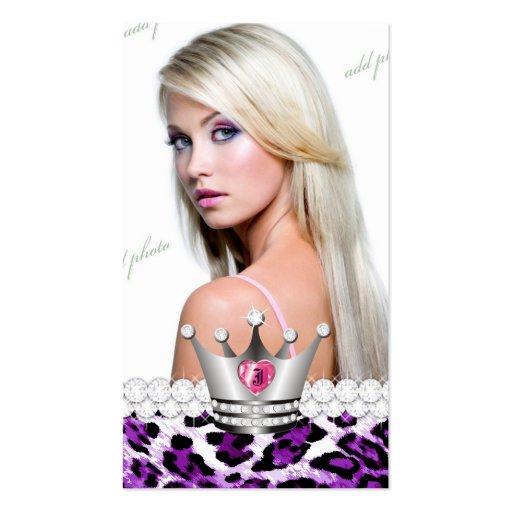 Princesa TT-Perfecta Purple Leopard Diamonds Tarjetas De Visita