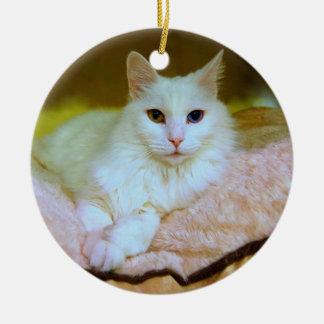 Princesa turca Cat Ornament del angora Adorno Navideño Redondo De Cerámica