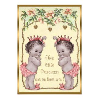 Princesa Twins Roses del vintage y fiesta de bienv Comunicado Personalizado