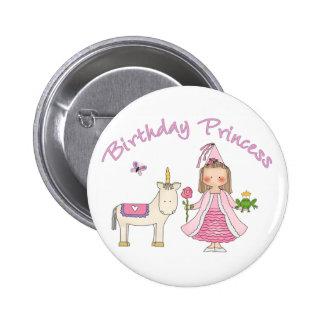 Princesa Unicorn Birthday Girl Pin Redondo De 2 Pulgadas