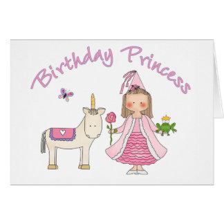 Princesa Unicorn Birthday Girl Tarjeta Pequeña