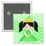 Princesa verde 2 botón pins