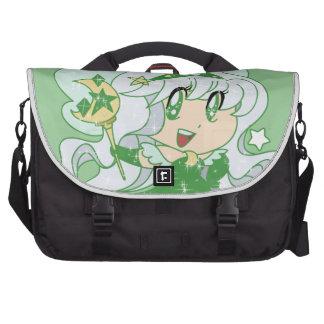 Princesa verde de la hada de la luna bolsas para ordenador