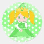 Princesa verde Sticker Pegatina Redonda