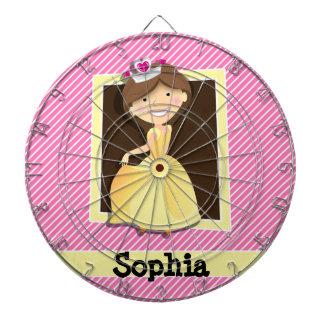 Princesa, vestido del amarillo; Rayas rosadas y