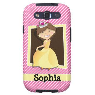 Princesa, vestido del amarillo; Rayas rosadas y Galaxy SIII Coberturas
