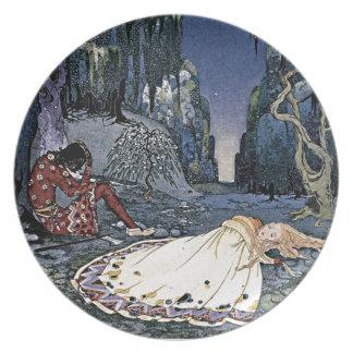 Princesa Vintage french Illustrati de la bella dur Platos De Comidas