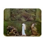 Princesa Walking con los duendes a través del bosq Imanes De Vinilo