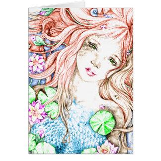 Princesa Watercolor de la sirena Felicitacion