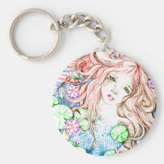Princesa Watercolor de la sirena Llavero Redondo Tipo Pin