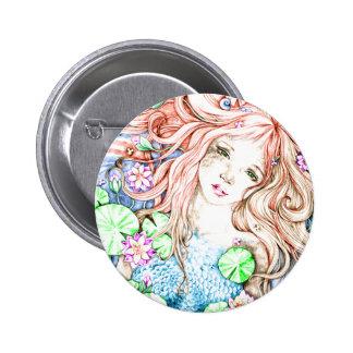 Princesa Watercolor de la sirena Pin Redondo 5 Cm