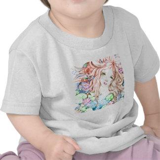 Princesa Watercolor de la sirena Camisetas