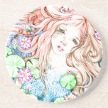 Princesa Watercolor de la sirena Posavasos Personalizados