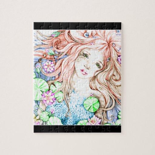 Princesa Watercolor de la sirena Rompecabezas