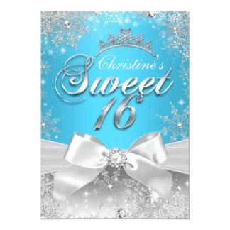 """Princesa Winter Wonderland Blue Sweet 16 invita Invitación 5"""" X 7"""""""