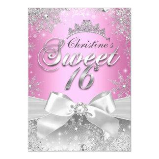 """Princesa Winter Wonderland Pink Sweet 16 invita Invitación 5"""" X 7"""""""