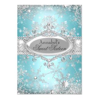 """Princesa Winter Wonderland Sweet 16 del trullo Invitación 4.5"""" X 6.25"""""""