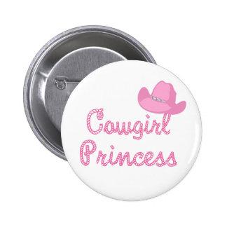 Princesa With Pink Hat de la vaquera Pin Redondo De 2 Pulgadas